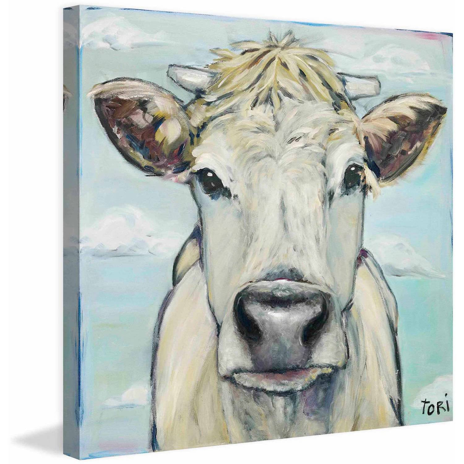 "Marmont Hill ""When Cows Fly"" by Tori Campisi Painting Print on Canvas"