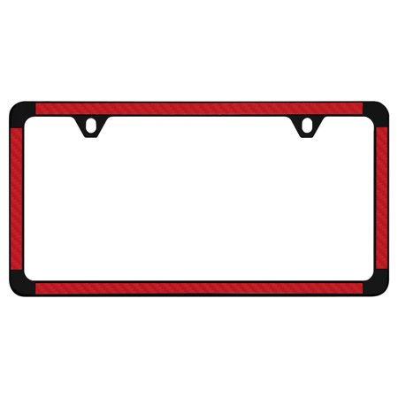 Red Simulated Carbon Fiber On Black Powder Coated Thin Rim License Plate Frame Holder