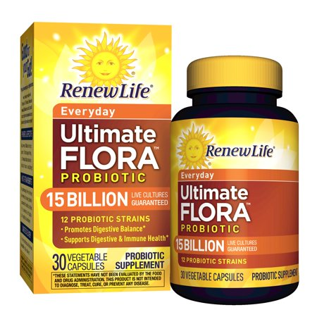Renew Life - Ultimate Flora Probiotic Everyday - 15 billion - 30 vegetable capsules (Flora 100 Capsule)