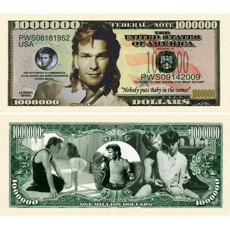 "5 Patrick Swayze Million Dollar Bill with Bonus ""Thanks a Million"" Gift Card Set - Walmart.com"