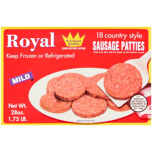 Royal Country Style Mild Sausage Patties, 18 count, 28 oz