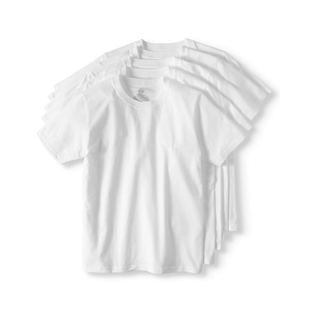 Wonder Nation Boys Crew Neck Undershirt, 5 Pack (Little Boys, Big Boys, &