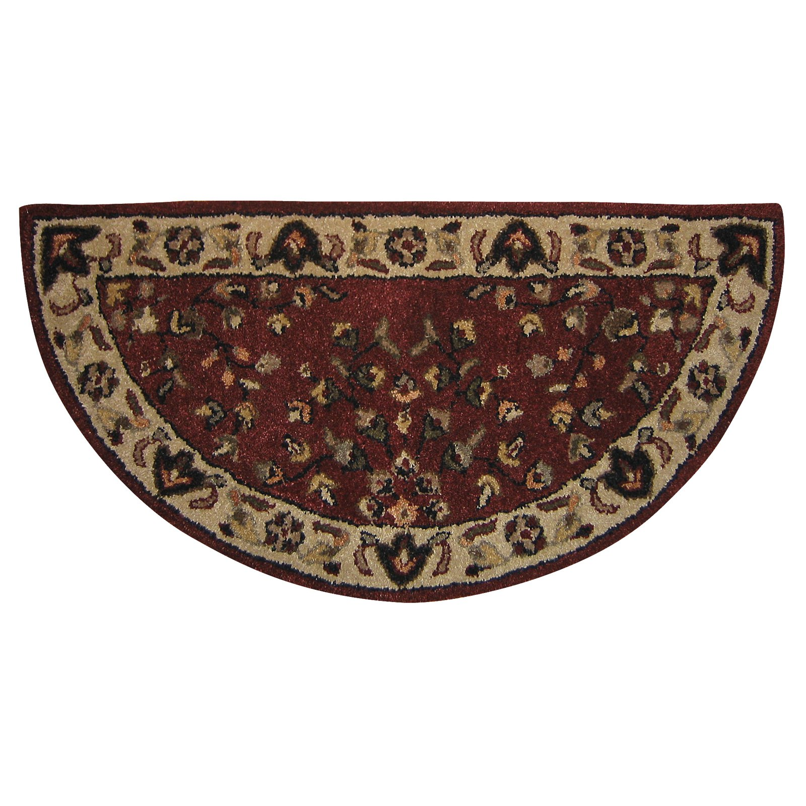 Uniflame Half-Circle Floral Hearth Rug, Red and Beige by UniFlame