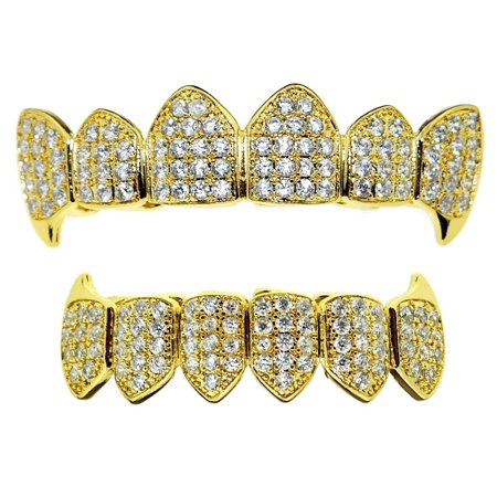 18K Gold Plated Grillz Set Fang CZ Bling Upper Top And Bottom Lower Plain Teeth Cubic Zirconia Hip Hop Vampire