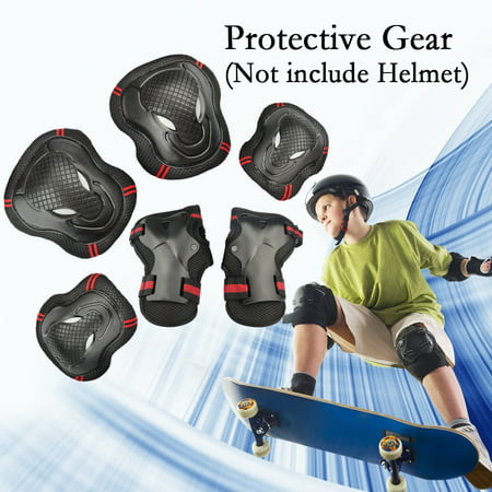 6PCS Adults Teens Childrens Youths Kid's Skateboard Gear Guard Elbow Knee Wrist Safety Pads Skating Roller Cycling Blading for Bicycle, CoastaCloud Skateboard, Scooter ,Outdoors Sports Softball Sliding Knee Guards