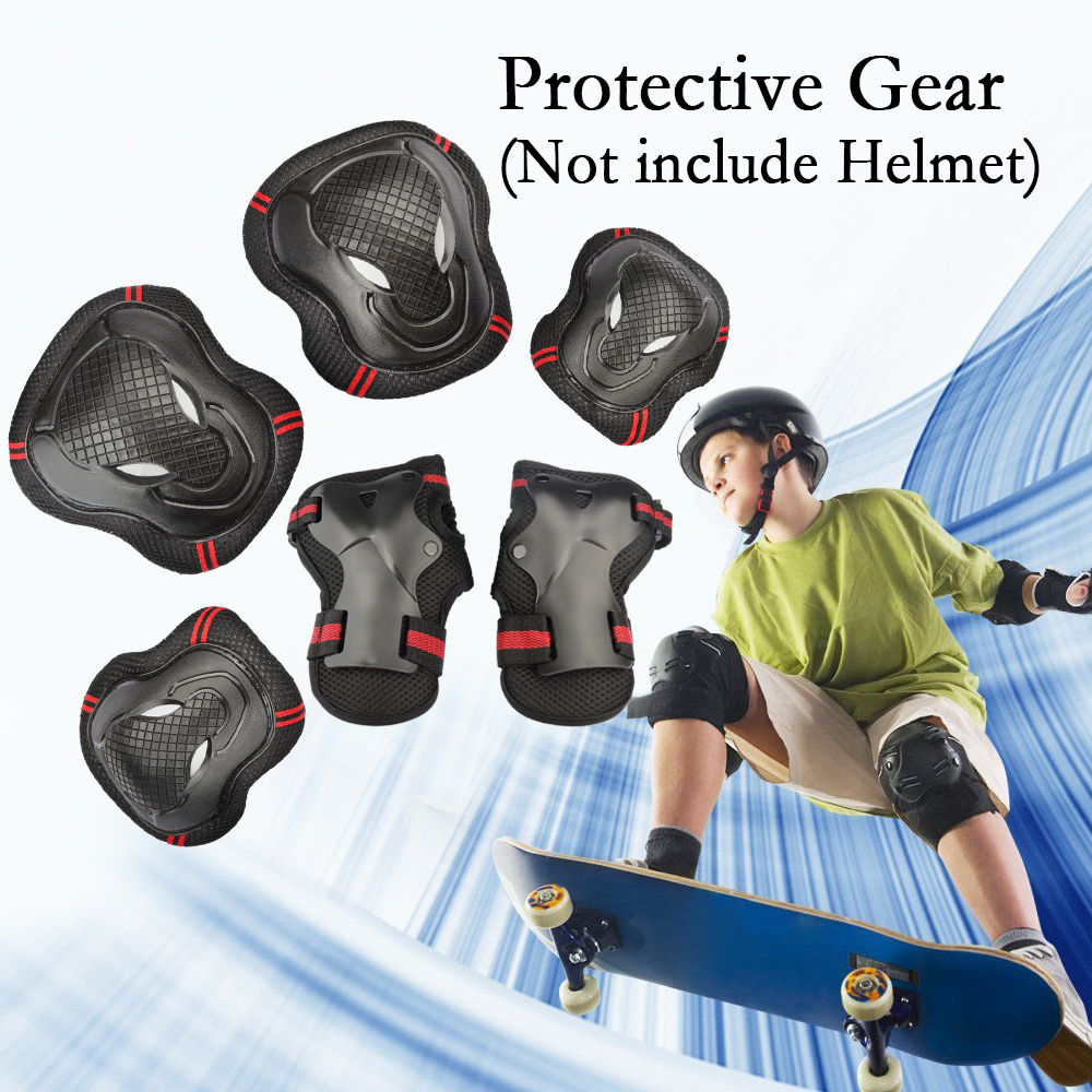 6PCS Adults Teens Childrens Youths Kid's Skateboard Gear Guard Elbow Knee Wrist Safety Pads Skating Roller Cycling Blading for Bicycle, CoastaCloud Skateboard, Scooter ,Outdoors Sports