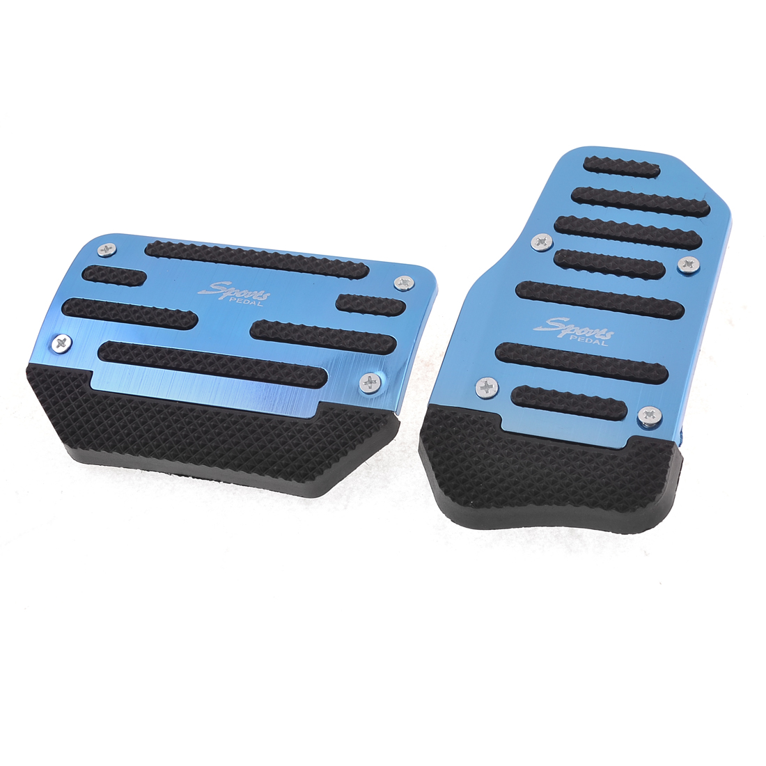 Automatic AT Auto Car Gas Brake Metal Pedal Covers Blue Black 2 Pcs