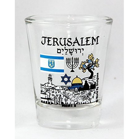 Jerusalem Israel Landmarks and Icons Collage Shot (Israel Fused Glass)