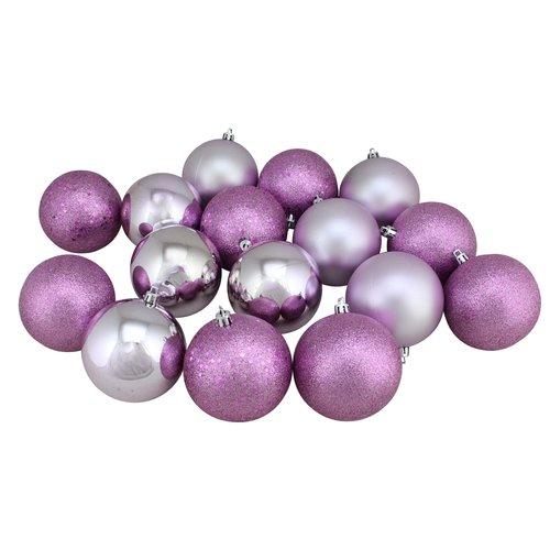 Charlton Home Magenta Shatterproof Christmas Ball Ornaments (Set of 16)