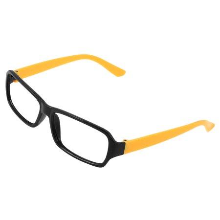 Black Yellow Plastic Full Rim No Lens Eyeglasses Frame for Women ...