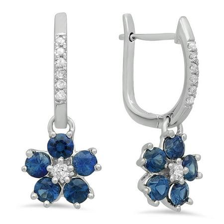 Dangling Drop Diamond Earrings - 1.10 Carat (ctw) 14K White Gold Round Blue Sapphire & Diamond Ladies Cluster Style Flower Dangling Drop Earrings 1 CT