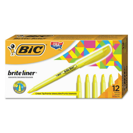 BIC Brite Liner Highlighter, Chisel Tip, Yellow, (Dozen Bic Brite Liner Highlighters)