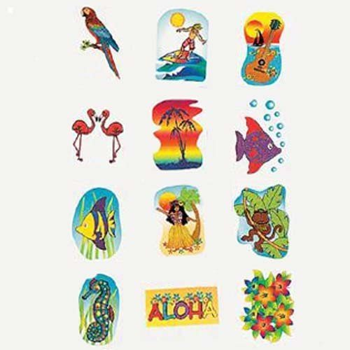 Tropical Glitter Temporary Tattoos Summer Luau Party Favors (6 dz)