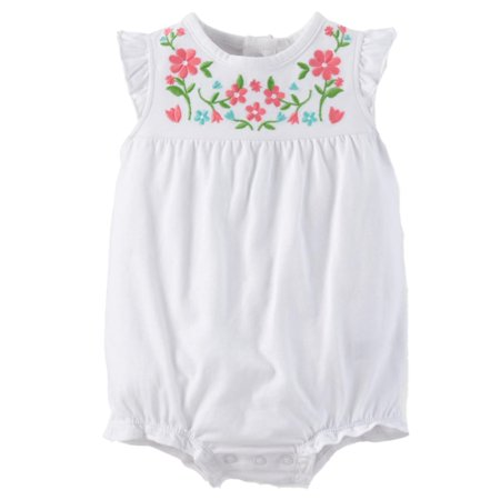 Carters Infant Girls Whte Stitched Floral Print Romper Baby Bodysuit Outfit