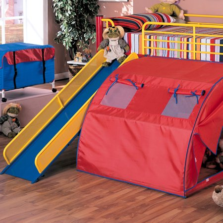 Coaster Youth Loft Bed With Slide And Tent Red Blue