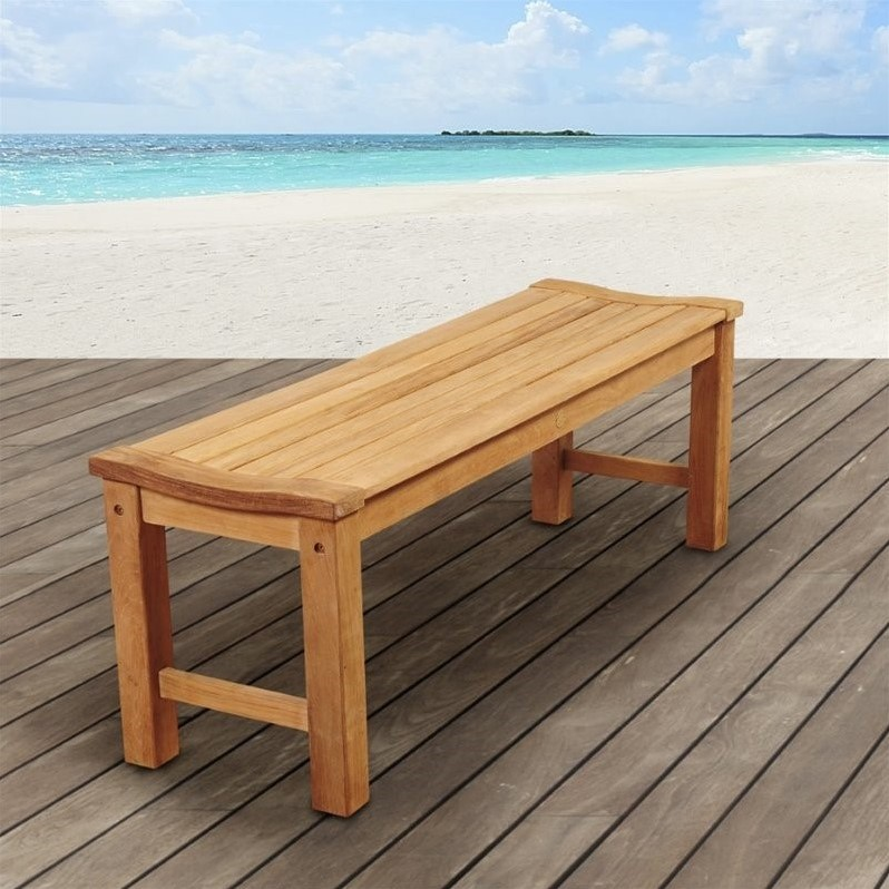 International Home Amazonia Teak Outdoor Bench in Brown by International Home Miami Corp