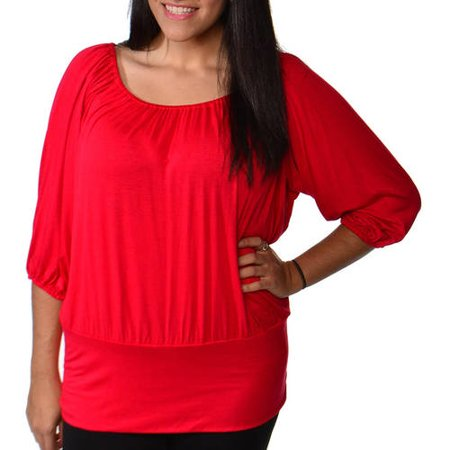 24/7 Comfort Apparel Plus Size Women's Blouson Banded Top