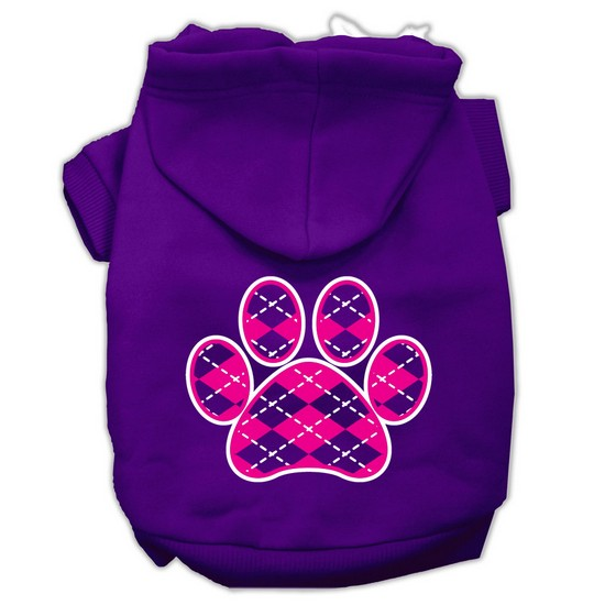 Mirage 62-113 SMPR Argyle Paw Pink Screen Print Pet Hoodie Purple - Size Sm
