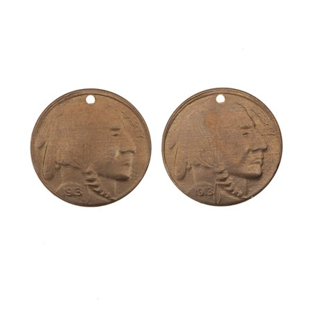 Natural Brass, Buffalo Nickel Coin Charms 24 Gauge 13mm, 2 Pieces
