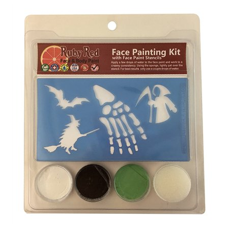 Halloween Face Painting Stencil Kits - Ghoul & Witches (3 Colors), Each 3 Color Snazaroo Stencil Kit Will Paint About 600 Cheek Art Designs By Snazaroo Ship from US (Halloween Witch Face Painting)