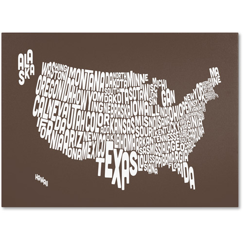 Trademark Art 'COFFEE-USA States Text Map' Canvas Art by Michael Tompsett