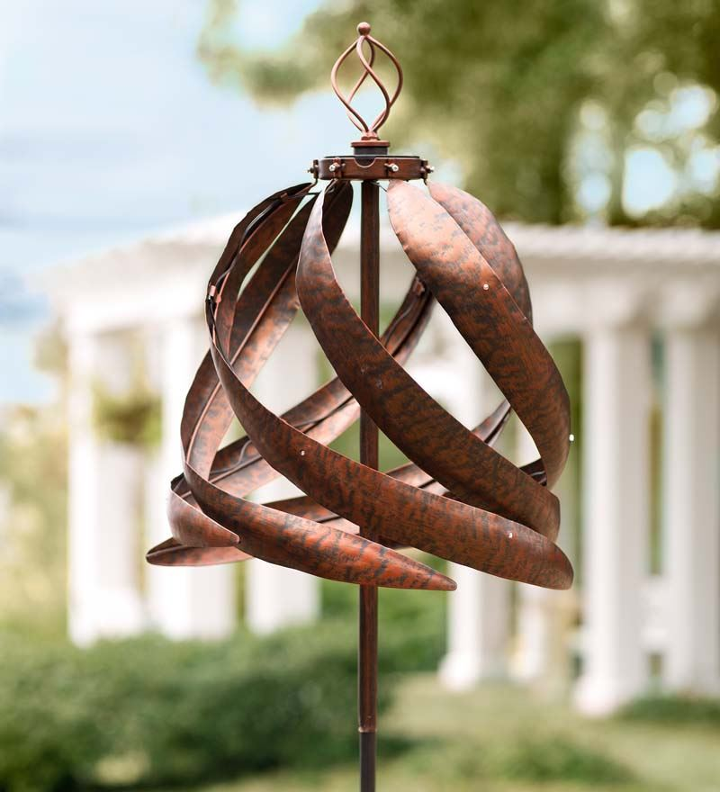 Wind & Weather Solar Copper-Colored Metal Wind Spinner for Gardens by Wind Spinners