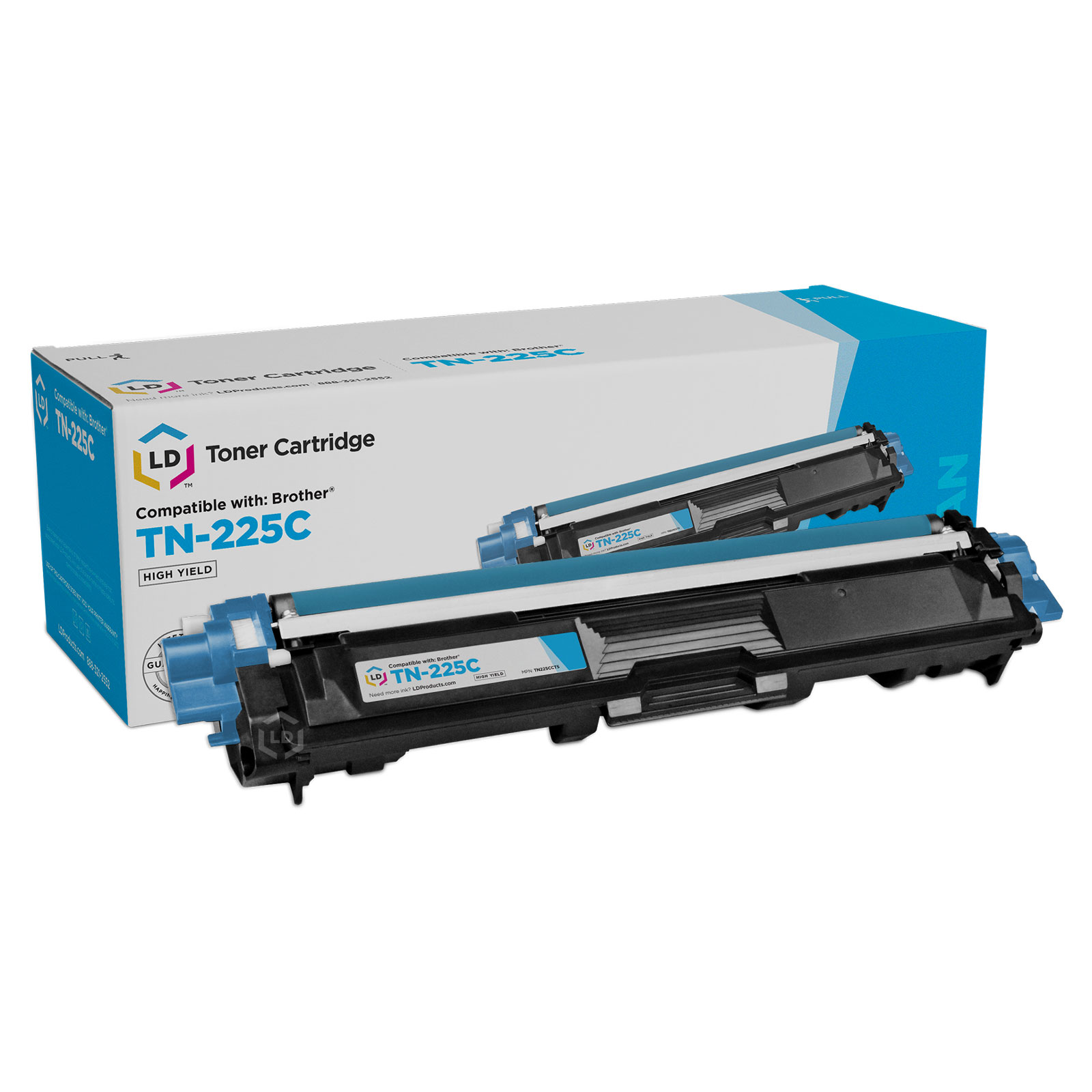 LD © Compatible Brother TN225 High Yield Cyan Laser Toner Cartridge for use in the HL-3140CW. HL-3170CDW, MFC-9130CW, MFC-9330CDW & MFC9340CDW Printers