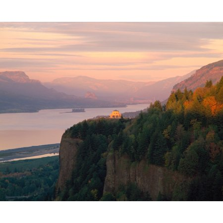 Vista House on Crown Point at Columbia River Tom McCall Nature Preserve Columbia River Gorge National Scenic Area Multnomah County Oregon USA Poster Print by Panoramic (Toms River New Jersey County)