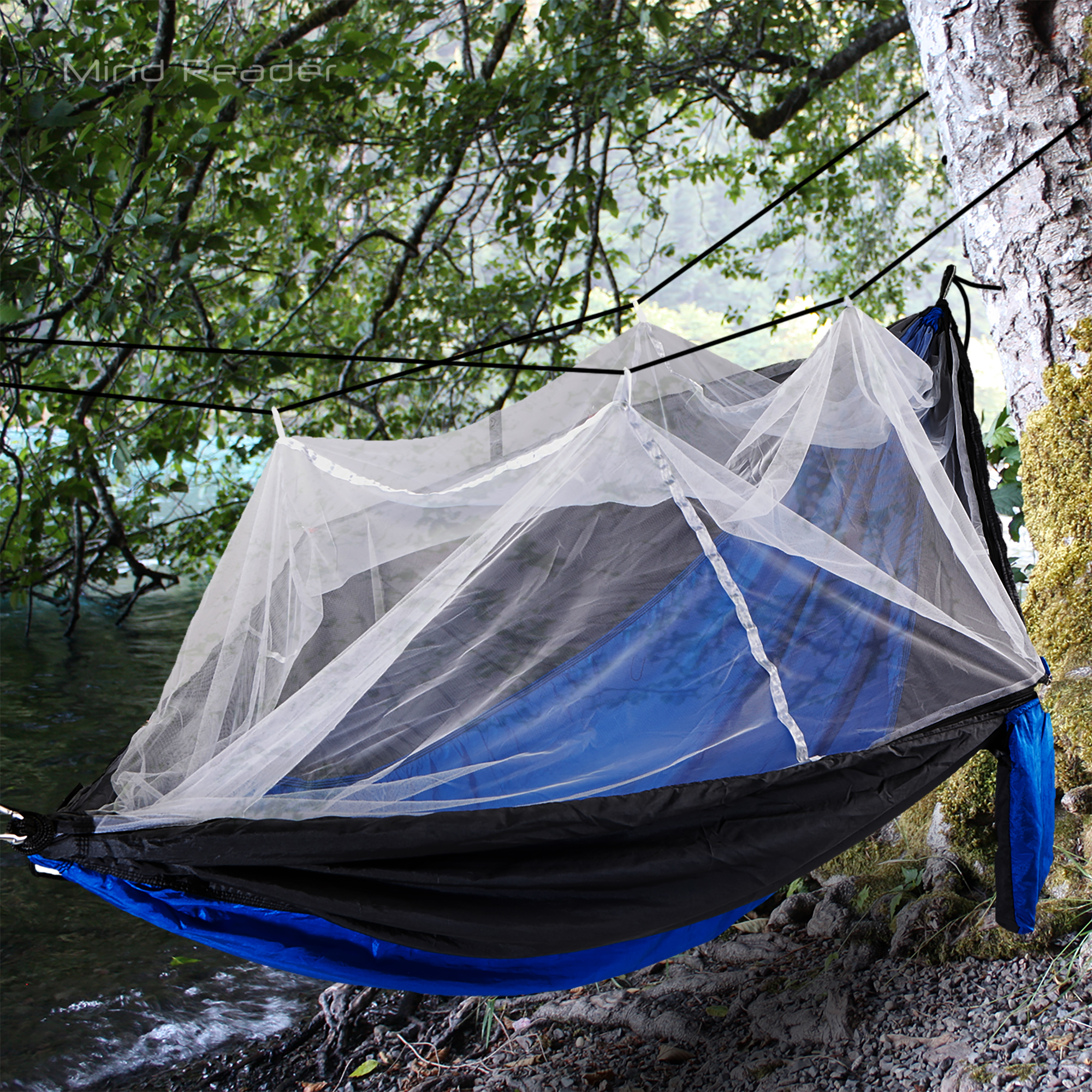 Mind Reader Nylon Hammock with Iron Carabiner and Mosquito Cover , Blue