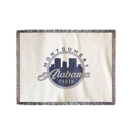 Montgomery Throw (Montgomery, Alabama - Skyline Seal (Blue) - Lantern Press Artwork (60x80 Woven Chenille Yarn Blanket))