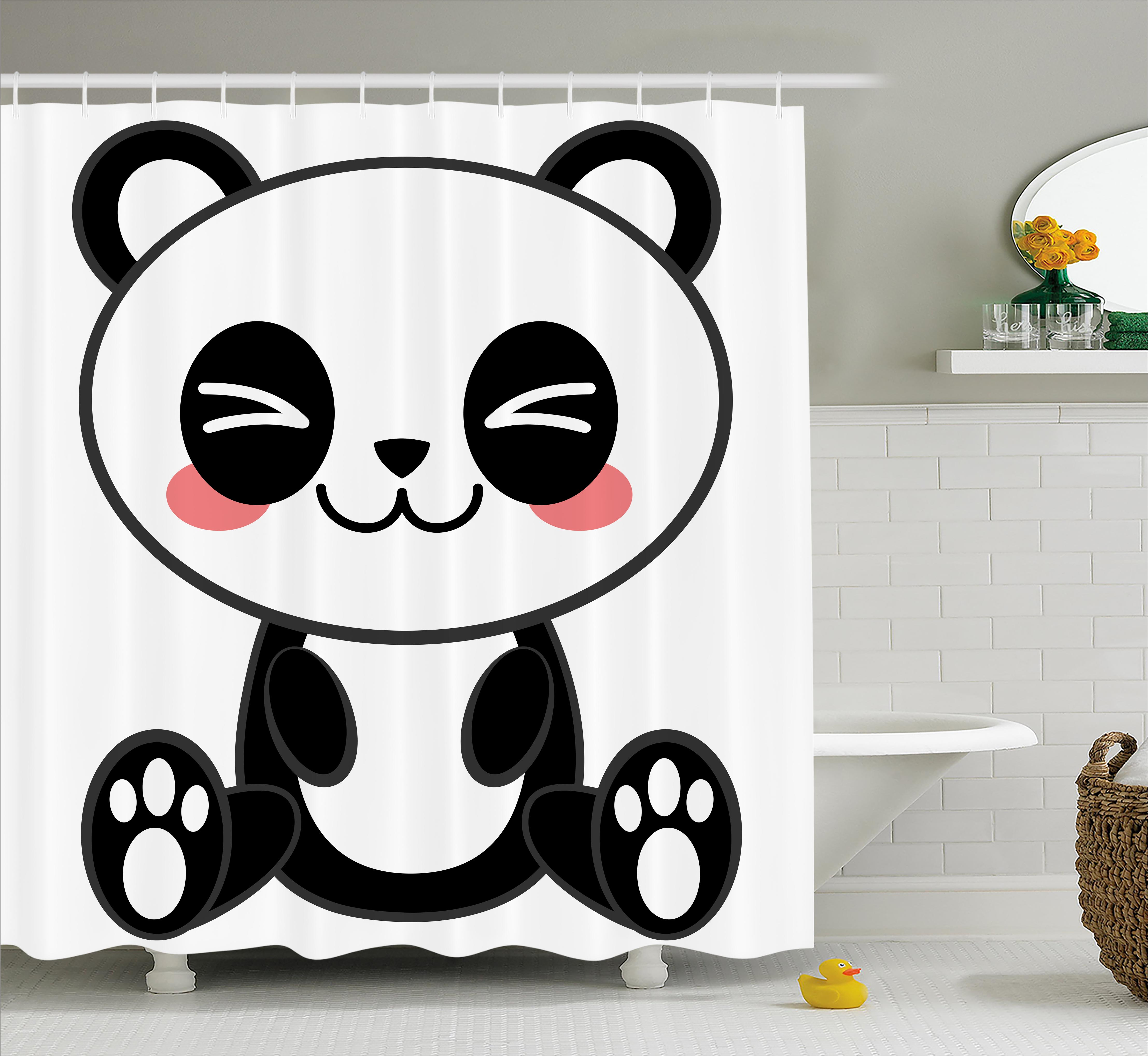 Anime Shower Curtain, Cute Cartoon Smiling Panda Fun Animal Theme Japanese Manga Kids Teen Art Print, Fabric Bathroom Set with Hooks, 69W X 75L Inches Long, Black White Gray, by Ambesonne