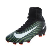 nike kids jr mercurial superfly v fg, black / white - electric green, youth size 4.5