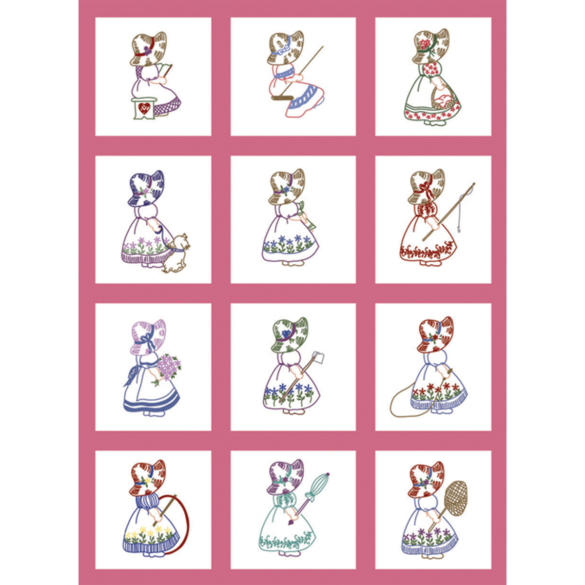 "Fairway Needlecraft Sunbonnet Girl Stamped Baby Quilt Blocks, 9"" x 9"""