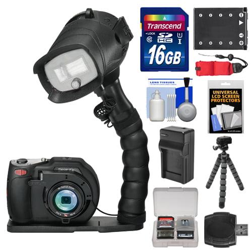 SeaLife DC1400 Pro 14MP HD Underwater Digital Camera with Flash & Flex Arm Bracket + 16GB Card + Battery & Charger + Tripod + Accessory Kit