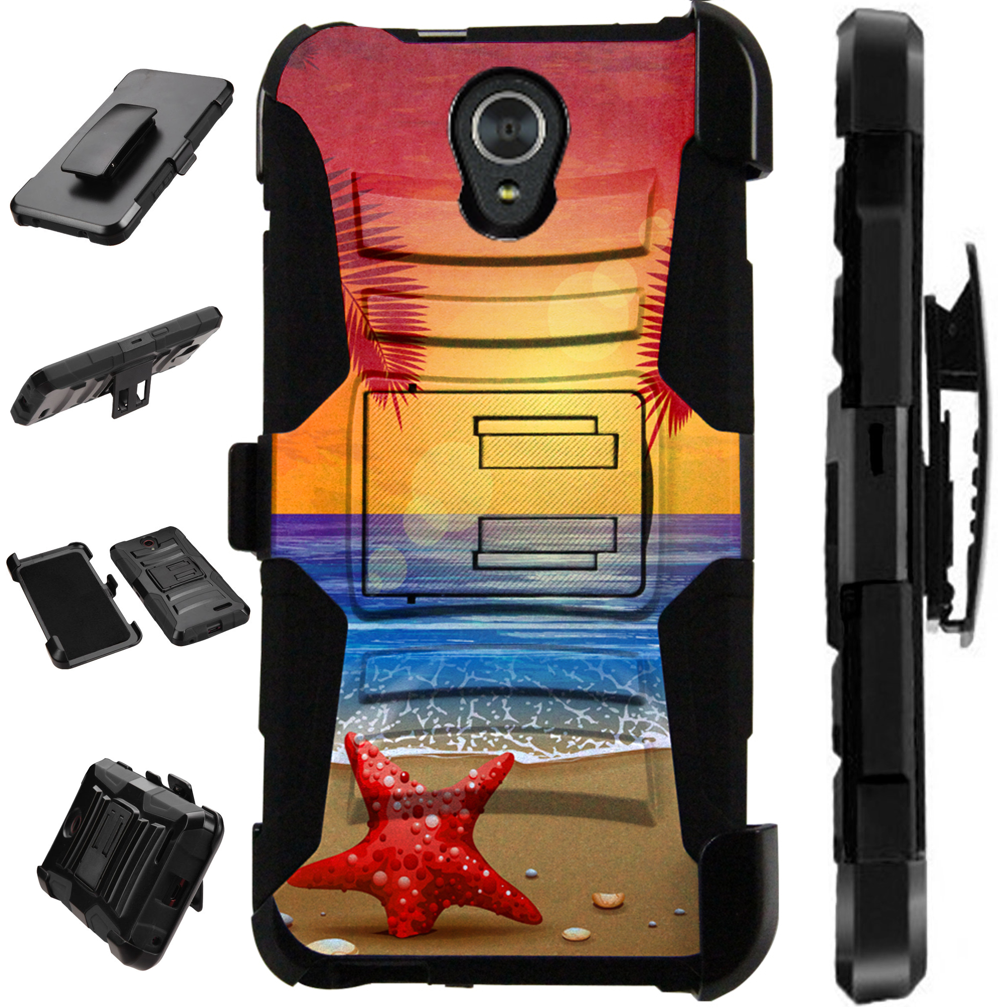 Compatible Alcatel idealXTRA | 1X Evolve (2018) | TCL LX Case Armor Hybrid Cover LuxGuard Holster (Sunset Beach)