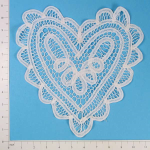 - Expo Int'l Battenburg Heart Doily - White - 12