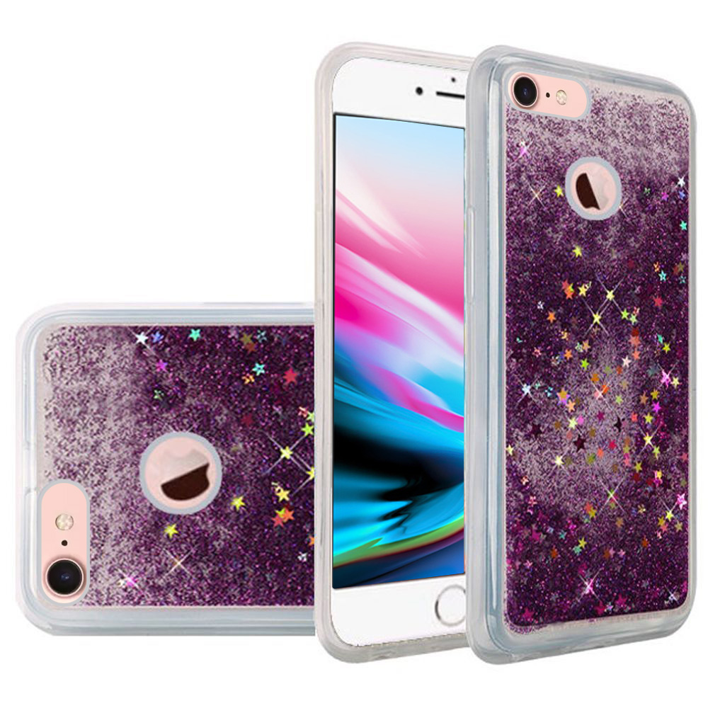 iPhone 8 Case, Premium Liquid Case for iPhone 8, Hybrid Quicksand Fashion Design Flowing Luxury Bling Glitter Sparkle Diamond Clear Soft Flexible TPU Case Bumper for iPhone 8 - Purple