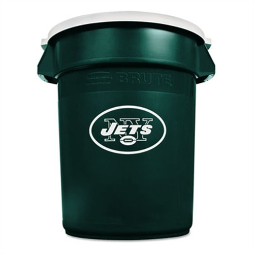 Rubbermaid Team Brute Round Container w/Lid, Jets, 32 Gal, Plastic, Hunter Green/White 1853499