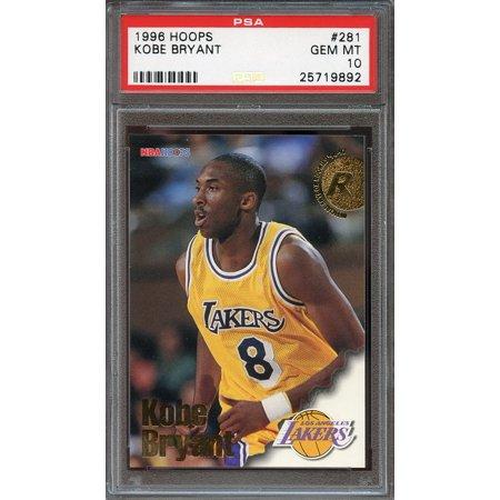 1996 97 Hoops  281 Kobe Bryant Los Angeles Lakers Rookie Card Psa 10