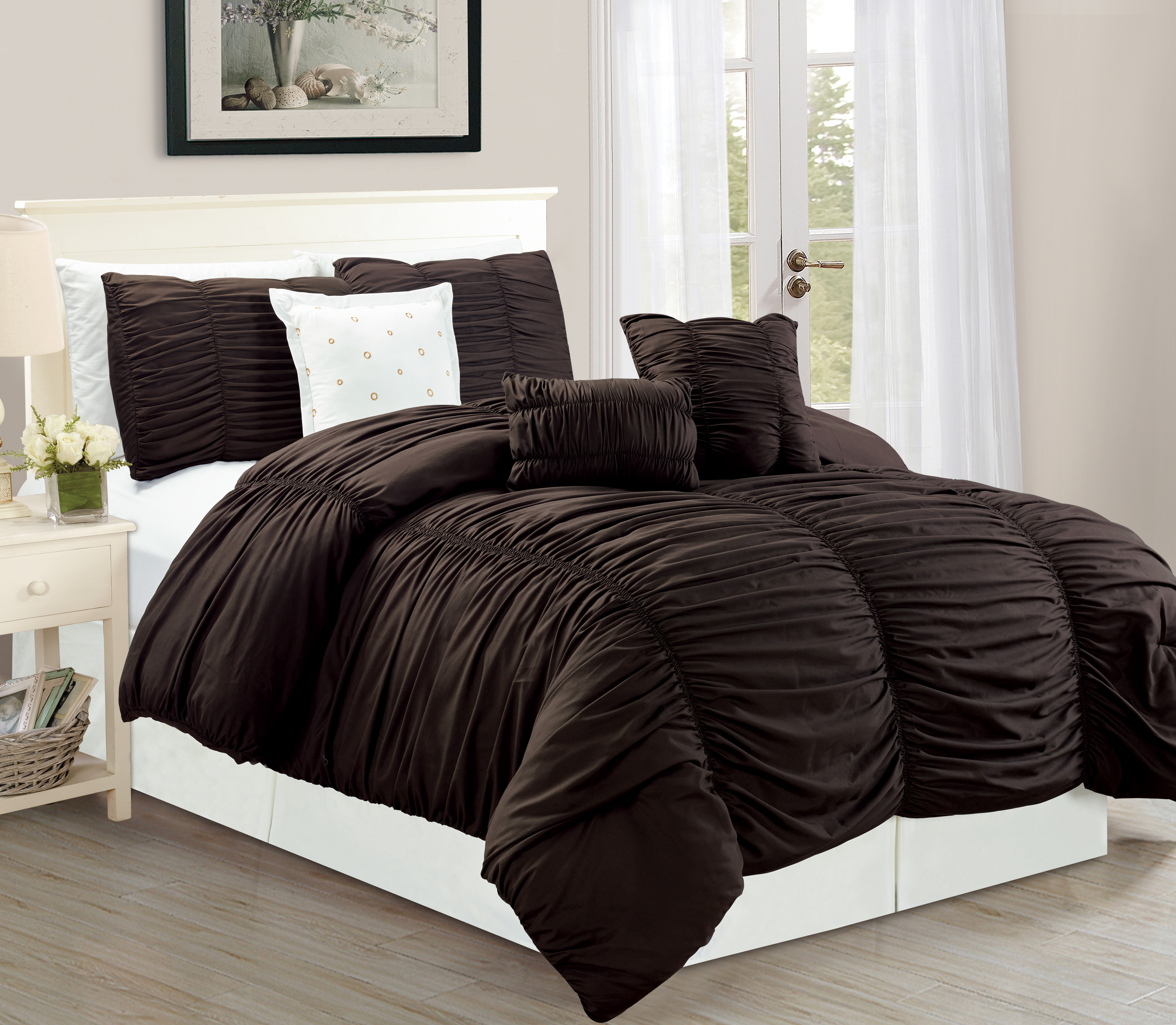 wpm 7 piece royal chocolate brown ruched comforter set elegant bed in a bag luxurious king