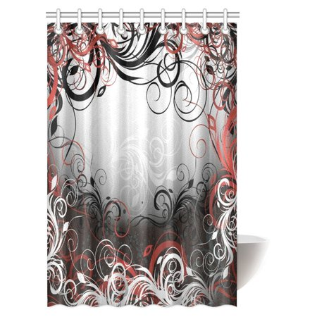 Pop Red And Black Shower Curtain Mystic Magical Forest Inspired
