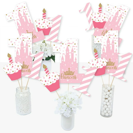 1st Birthday Little Princess Crown - Pink and Gold Princess First Birthday Party Centerpiece Sticks - Table Toppers (Clown Centerpieces)
