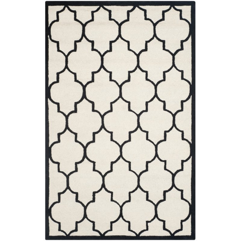 "Safavieh Cambridge 2'6"" X 8' Hand Tufted Wool Rug in Ivory and Black - image 3 of 3"