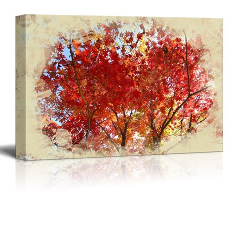 wall26 - Canvas Print Landscape Wall Art - Autumn Leaves - Gallery Wrap Modern Home Decor | Ready to Hang -32x48 - Autumn Decor