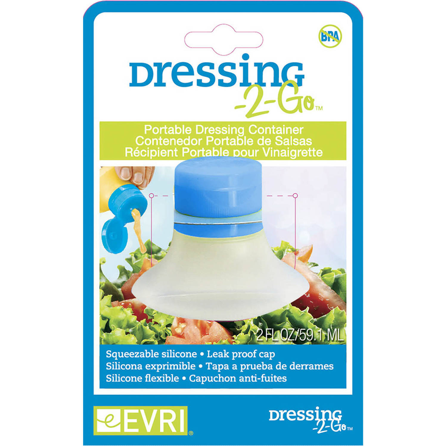 Evriholder Dressing to Go Salad Dressing Container, 2-ounce,Color may vary, (Set Of 2)