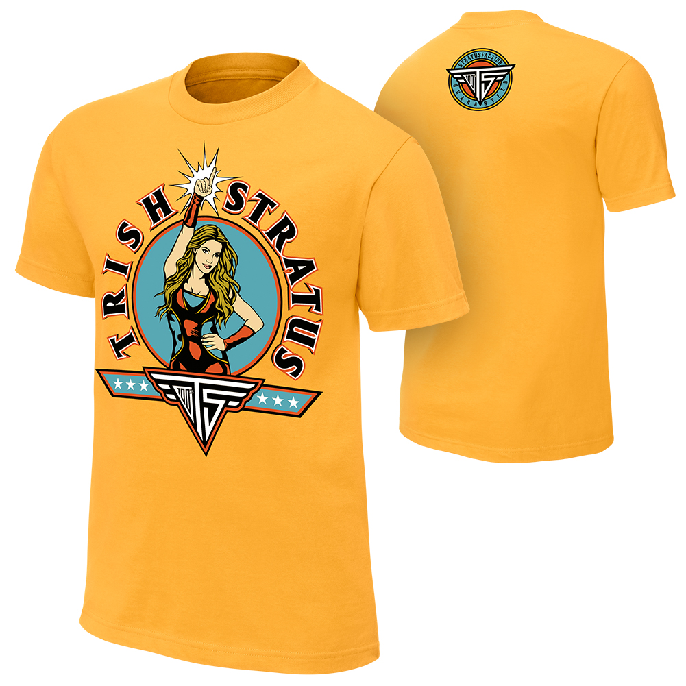 """Official WWE Authentic Trish Stratus """"Stratusfaction""""  T-Shirt Yellow Small"""