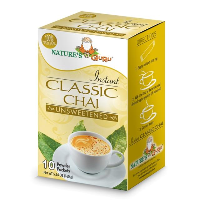 Natures Guru Classic Chai Unsweetened Drink Mix - Pack Of 8