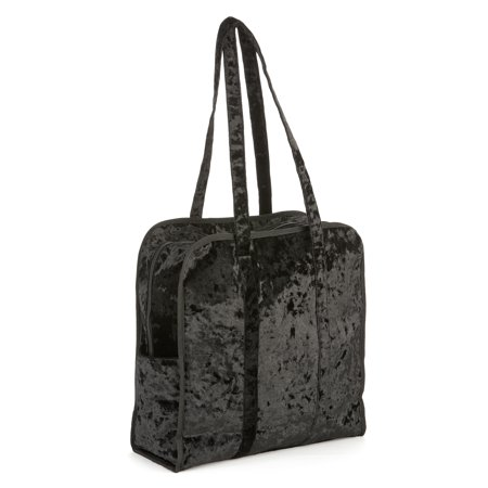 No Boundaries Black Crushed Velvet Square Tote