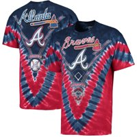 Atlanta Braves V Tie-Dye T-Shirt - Navy/Red