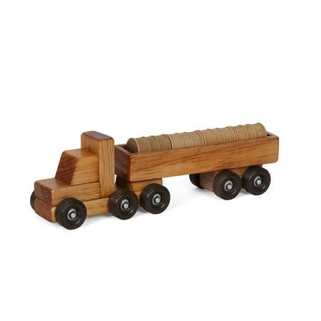 Wooden Toy Truck - AmishToyBox.com Wooden Barrel Hauler Toy Truck, CPSIA Kid Safe Finish